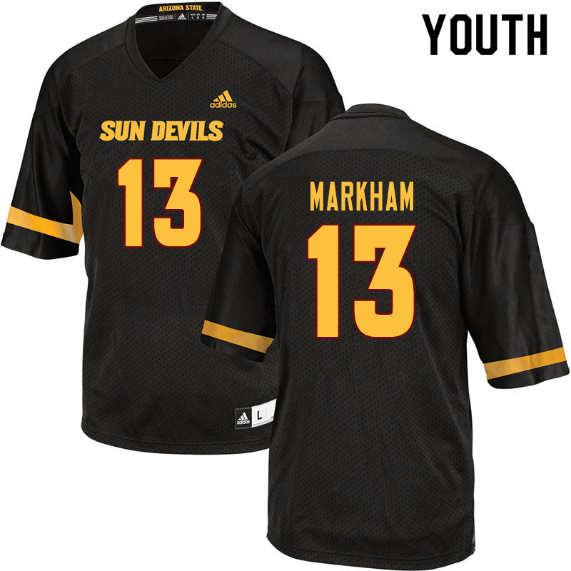 Youth #13 Keon Markham Arizona State Sun Devils College Football Jerseys Sale-Black